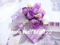 New Prom  Artificial Camellia pearl Boutonniere Wedding Decoration Fabric  10 pcs  wrist flower corsages Purple Violet  FL1121