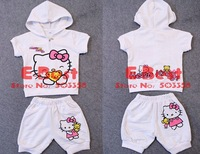 Promotion! baby girls summer Hello Kitty short sleeves clothing sets hooded top+short pants girls tracksuits cotton sets