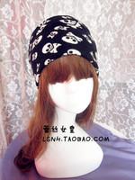 Europe fashion handmade black white skull cotton hat hair acessories elastic turban headband headbands hair bands women headwear