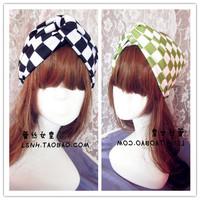 Hotsale beauty hand made black green plaid wide cotton turban headband hair accessories elastic headbands for women hair band