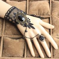 Wholesale Gothic big gem stone black lace bracelets women fashion jewelry Vampire cosplay hand wristbands B110