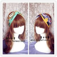 Hotsale beauty hand made 2Color Green Yellow wide cotton turban headband hair accessories elastic headbands for women hair band