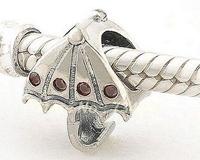 100% 925 Sterling Silver Umbrella European DIY Charm Bead with Ruby Crystal, DIY Findings Fit Pandora Charm Bracelets XS070
