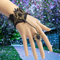 Free Shipping 6pc/lot promotion gothic halloween cosplay jewelry vintage punk  lace bracelet with ring set  MTB113