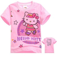New sale girls cotton rose hello kitty fashion short sleeve t shirt wholesale 6pcs/lot free shipping