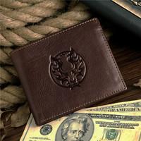 New fashion popular genuine leather men wallets,elegant cow leather casual short purses ,hotsale punk wallets 8017-3C
