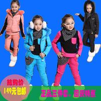Children's clothing female child autumn thermal sweatshirt piece set 2014 set winter child set