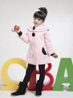 Children's clothing autumn and winter 2014 100% cotton thickening plus velvet outerwear medium-large female child medium-long