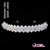 Wedding tiara crown headband rhinestone tiaras crowns Colour bride crystal beads hair band bridal accessories Bridal Crown noiva
