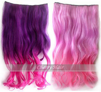 24inch(60cm) top quality long curly wavy synthetic ponytail two colored synthetic weave hair extensions clip in
