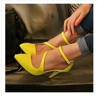 Free shipping, 2014 new T-STRAP Candy colors sexy high heels pumps, fashion leather shoes for women.