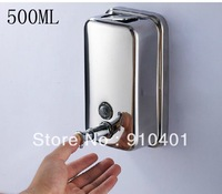 Free Shipping Wholesale And Retail Promotion NEW Bathroom Wall Mounted Stainless Steel Liquid Soap Dispenser 500ml Soap Box