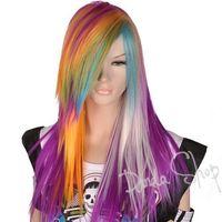 GW503 Multi-colored Long Straight Stylish EMO Chic Lady Full Wig