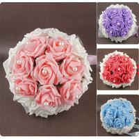 2013 Hot Sale Bride holding flowers handmade guelder wedding bouquet of marriage