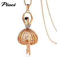 Piaci decoration necklace female crystal necklace pendant long design fashion all-match rose gold accessories