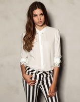 Wholesale 2013 Spring And Autumn New Rivet Sleeves Self-Cultivation All-Match Thin Blouse White Long Sleeved Shirt