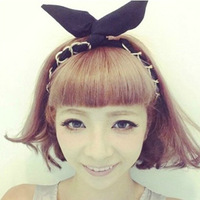 Murua peach new arrival all-match metal knitted rabbit ear bow hair bands hair band