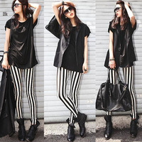 Spring and autumn black and white vertical stripe legging thin casual plus size pants