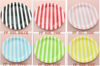 Free Shipping(1200pcs) colorful Paper Plate Dish Event Birthday Party Supplies Striped chevron Polka Dot Square Round Tableware