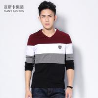 Autumn clothing men's stripe t-shirt V-neck male T-shirt long-sleeve top clothes basic shirt