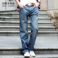 Autumn loose straight light blue dulwich , retro finishing jeans male plus size plus size ms0011
