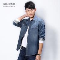 Men's clothing   male long-sleeve denim shirt casual denim shirt male