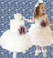 Retail 2014 New girls party dress Chiffon dress toddler 3D Flower Tutu Layered children Bow Kids Formal Dress free shipping