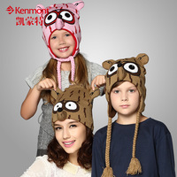 free shipping 2013 Parent-child bonnet baby cartoon fox winter hat male female child yarn animal thermal protector 4833 ear cap