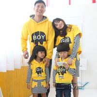 Smy stripe print twinset with a hood fleece sweatshirt family fashion winter family set 2013