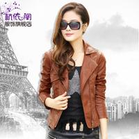 2013 spring and autumn slim short design women's motorcycle PU plus size clothing short jacket