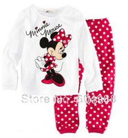 Minnie Mouse Baby Pajamas/Pyjamas Suits Clothes Children's Sleepwear Set Kid's Sleep Sets Wear,Free Shipping,6sets/Lot
