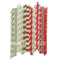 CHRISTMAS SET GOLD SILVER RED GREEN Paper Straws 2400pcs/lot (25PCS/PACK) 24 Colours Stripe Chevron Star Polka Dot Snow Mix