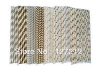 CHRISTMAS SET GOLD AND SILVER Paper Straws 2000pcs/lot (25PCS/PACK) 8 Colours Stripe Chevron Star Polka Dot Mix