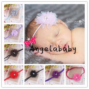 "2.5"" Mini Tulle Mesh Flower With Rhinestone Pearl On a Elastic Thin Headband Baby Girl Flower Headband 30pcs/lot"