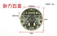 Packing box hardware antique clasp wooden gift box lock button box circular butterfly clasp panel