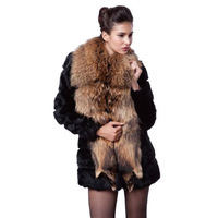 Free Shipping Faux Fur 2013 New Female Raccoon Rabbit Fur Slim Outerwear Coat Full S,M,L,XL,XXL RG1310013