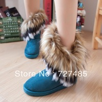 2013 winter warm high long snow boots artificial fox rabbit fur leather tassel women's shoes 36-40