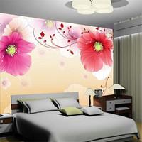 Mural wallpaper pink dream trumpet flower rustic
