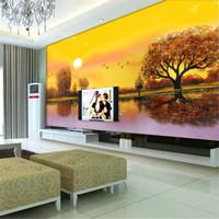 Mural wallpaper tv wall background wall entranceway golden bird