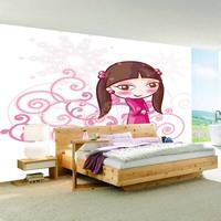 Mural child real eco-friendly cartoon wallpaper tv background wall wallpaper mural girl