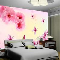 Mural wallpaper tv background wallpaper bathroom pink peach romantic
