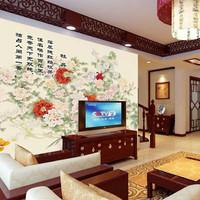 Mural tv background wallpaper chinese style vintage flower nostalgia mural