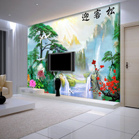 Sweets modern chinese style tv sofa background wallpaper landsides mural