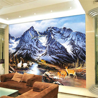 Mural tv wall wallpaper living room background wall mural wallpaper chinese style landscape painting