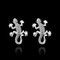 GE561 Wholesale 18K Rose/White Gold Plated Gecko Animal Stud Earrings Austrian Crystal Christmas Gift