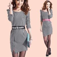 2013 women's autumn fashion o-neck stripe elegant slim waist slim all-match long-sleeve dress