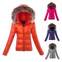 2014 New Italian Brand Women Fashion Real Fur Goose Down Jacket Thick Femme Coat Ladies Winter Warm Clothing S M L XL (Orange)