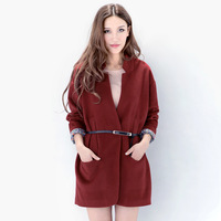 Free shipping Fashion high quality vintage plus size formal wool overcoat long suit outerwear female