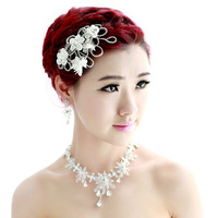 ta03 handmade rhinestone hair accessory necklace pearl marriage accessories three pieces set wedding accessories