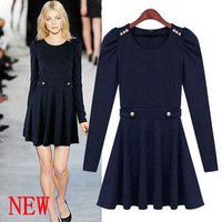 Free shipping Fashion fashion 2013 OL outfit o-neck knitted long-sleeve slim waist one-piece dress